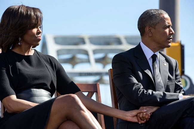 Barack and Michelle obama Together During the 50th Bloody Sunday Anniversary