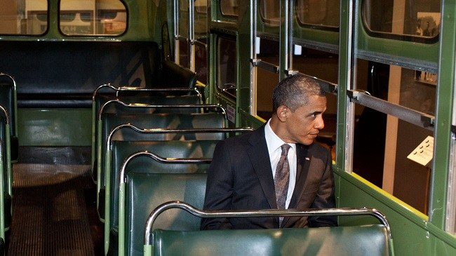 Obama At the Historical Rosa Parks Bus