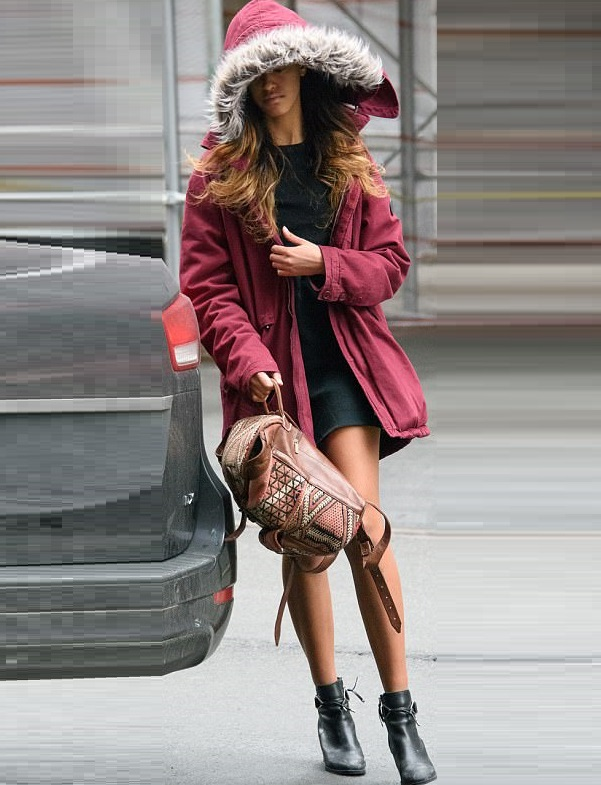 Malia wearing a mini dressfreezing cold