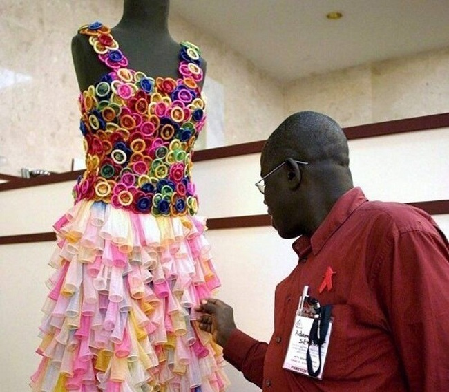 Wedding dress made out of condoms