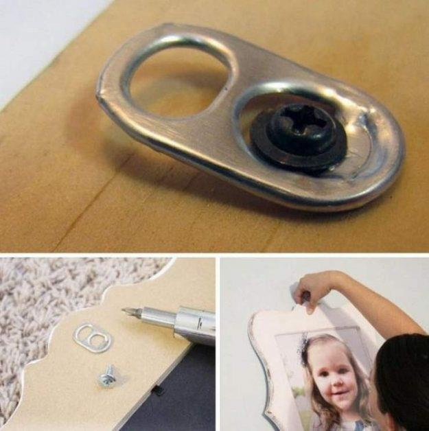 Hang pictures with soda can tabs