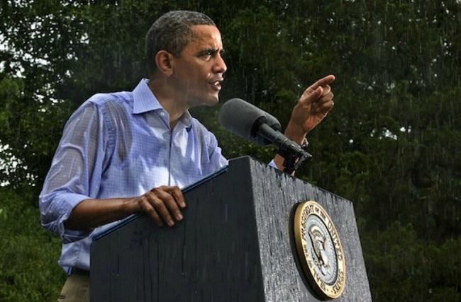 President Obama in Rain