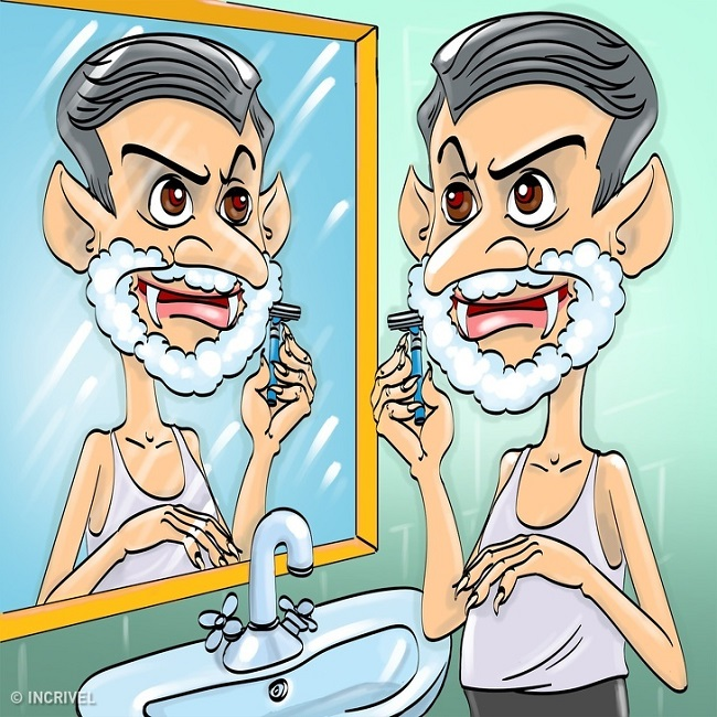 Shaving in Front of Mirror